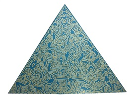 blue pyramid by keith haring