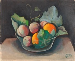 stillleben mit obstschale by karl hofer