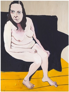 self portrait naked on new blue sofa by chantal joffe