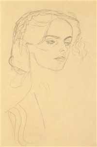 head of a girl in three-quarters profile to the right by gustav klimt