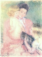 reine lefebvre with blond baby and sara holding a cat by mary cassatt