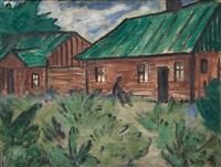 häuser mit grünen dächern by otto mueller