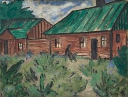 häuser mit grünen dächern by otto müller