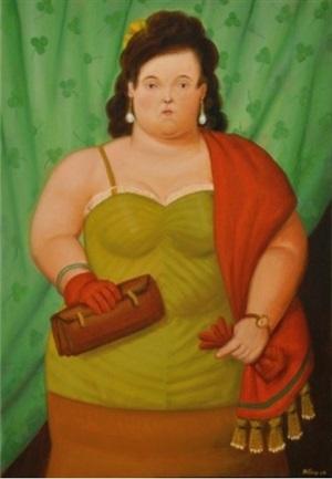 donna con borsa by fernando botero