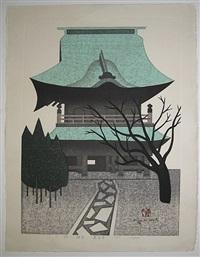gate, kamakura, kencho-ji by kiyoshi saito
