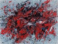 rote astform und blauer winterhimmel by gerda lepke