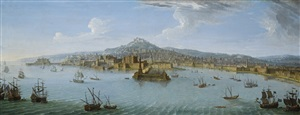 view of naples from the bay by antonio joli