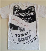 campbell's soup can on t-shirt by andy warhol