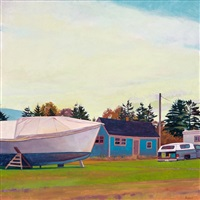 boat, house, truck, trailer by susan abbott