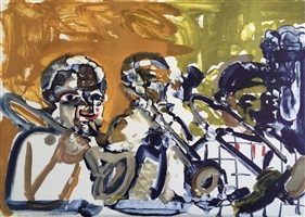 brass section (jamming at minton's) by romare bearden