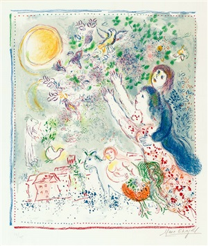 la chasse à l'oiseau bleu (chasing the blue bird) by marc chagall