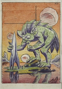 creature and spaceship, pulp cover preliminary by hannes vajn bok