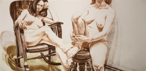 two female nudes by philip pearlstein