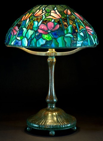 lamp with tulip shade by tiffany studios