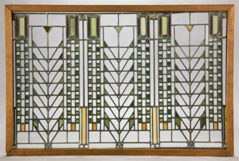 window from the darwin d martin house buffalo new york by frank lloyd wright