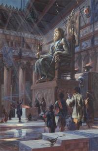 statue of zeus at olympia by roy krenkel