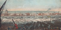 an accurate view (of london) from the house of w. tunnard esq. when the remains of the great admiral nelson were brought from greenwich to whitehall by john thomas smith