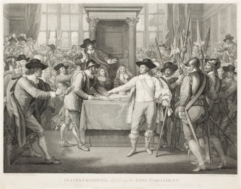 oliver cromwell, dissolving the long parliament by benjamin west