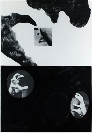 kiss, hair, hands by john baldessari