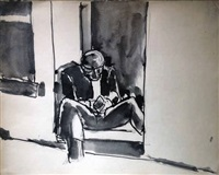 seated man by josef herman