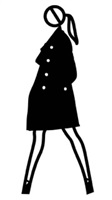 verity walking in overcoat. 2. by julian opie