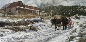 afternoon on a snow-covered road (untitled) by clark hulings