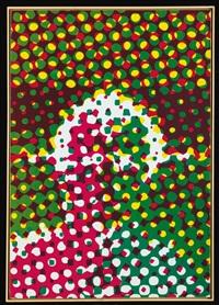 portrait d'homme, vert, rouge, jaune by alain jacquet