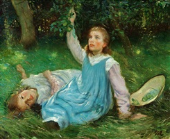 the artist's daughters picking apples by peter marius hansen