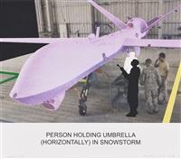 the news: person holding umbrella... by john baldessari