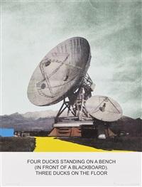 the news: four ducks standing on a bench... by john baldessari
