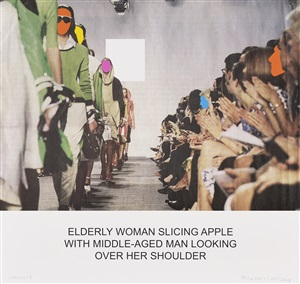the news: elderly woman slicing apple... by john baldessari