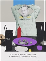 the news: a young boy being fitted for a gas mask... by john baldessari