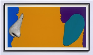 face with nose and ear by john baldessari