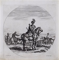 a polish horseman, seen from the back by stefano della bella