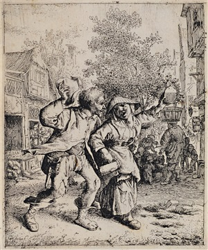 the drunk couple by cornelis dusart