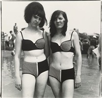 two girls in matching bathing suits, coney island, ny by diane arbus