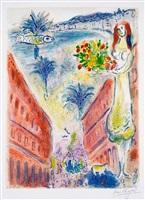 """avenue de la victoire at nice, plate vi from """"nice et la côte d'azur"""" by marc chagall"""