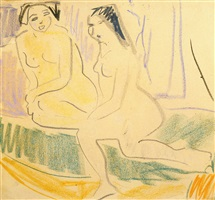 zwei weibliche akte im atelier by ernst ludwig kirchner