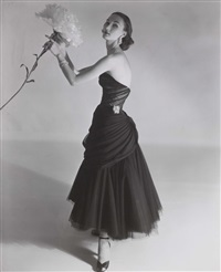 evelyn tripp modelling a charles james dress, vogue, september 1951 by horst p. horst
