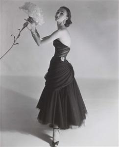 evelyn tripp modelling a charles james dress, vogue, september 1951 by horst p. horst