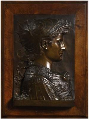 profil d'homme vêtu d'une armure à l'antique (persée ou alexandre le grand ?) by cesar ceribelli