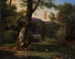 paysage avec deux philosophes écoutant un berger jouer de la flûte by achille etna michallon