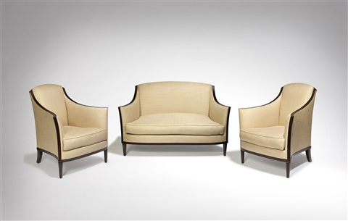 paire de fauteuils et canapé / pair of armchairs and sofa by jean-michel frank