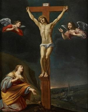 crucifixion avec sainte marie-madeleine by maître des cortèges