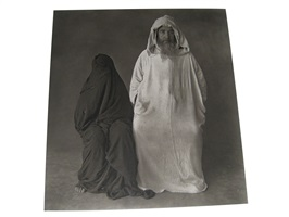 man in white, woman in black (morocco) by irving penn