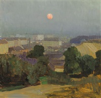 heiligenstadt at full moon by carl moll