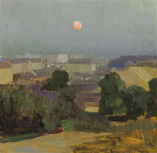 heiligenstadt at full moon by carl moll