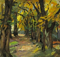 autumnal forest path - seefeld castle by leo putz