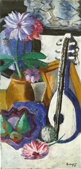 stilleben mit violetten dahlien by max beckmann