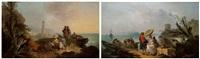 le repos de la jeune femme au port accompagnée de son serviteur noir.<br/>le turc fumant la pipe et les pêcheurs à l'entrée d'un port le matin by francesco giuseppe casanova